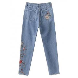 Floral Embroidered Jeans -