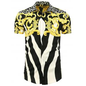 Colorblock Printed Short Sleeve Shirt - White + Black + Yellow - 2xl