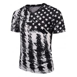 Star Scrawl Print V Neck Tee - White And Black - M