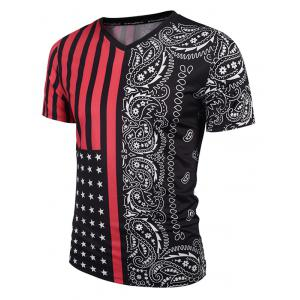 V Neck Stripe Paisley Print Tee - Red With Black - M