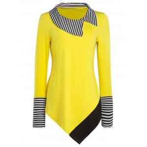 Long Sleeve Striped Hem Asymmetric Long T-Shirt - Yellow - M