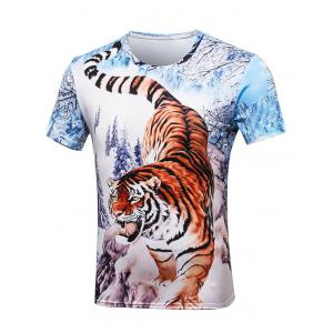 Crew Neck Tiger Painting Tee - Colormix - S
