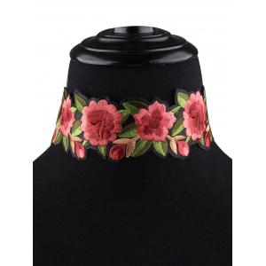 Flower Embroidered Choker Necklace - RED