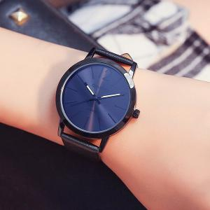 GIMTO Faux Leather Big Dial Quartz Watch - BLACK