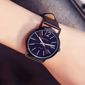 GIMTO Faux Leather Big Dial Quartz Watch -