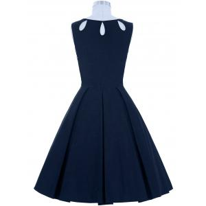 Cut Out Skater Dress - PURPLISH BLUE S