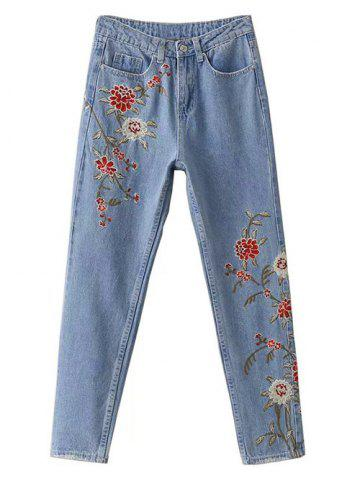 Cheap Floral Embroidered Jeans