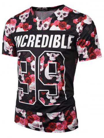 Cheap V Neck Skull Floral Graphic Tee - L COLORMIX Mobile