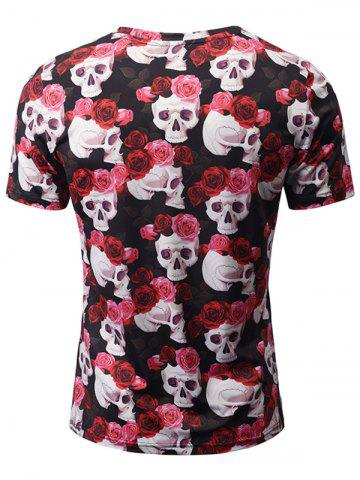 Chic V Neck Skull Floral Graphic Tee - M COLORMIX Mobile