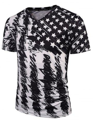 Cheap Star Scrawl Print V Neck Tee