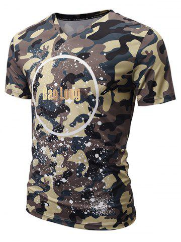 Fashion V Neck Paint Splatter Camo Tee - 2XL COLORMIX Mobile