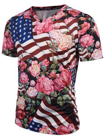 Store V Neck American Flag Print Floral Tee - 3XL COLORMIX Mobile