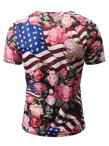 Fashion V Neck American Flag Print Floral Tee - XL COLORMIX Mobile