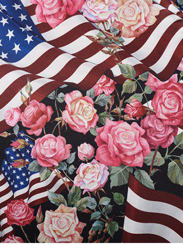 Store V Neck American Flag Print Floral Tee - M COLORMIX Mobile