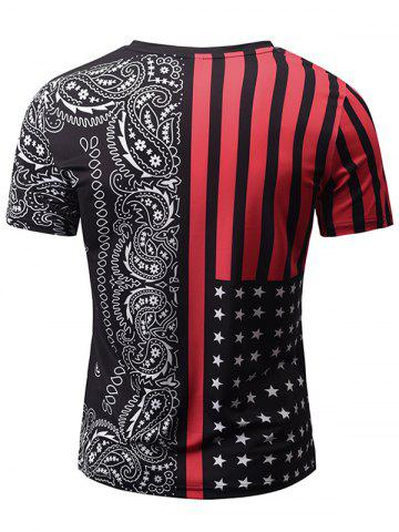 Online V Neck Stripe Paisley Print Tee - M RED WITH BLACK Mobile