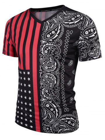 Hot V Neck Stripe Paisley Print Tee - M RED WITH BLACK Mobile
