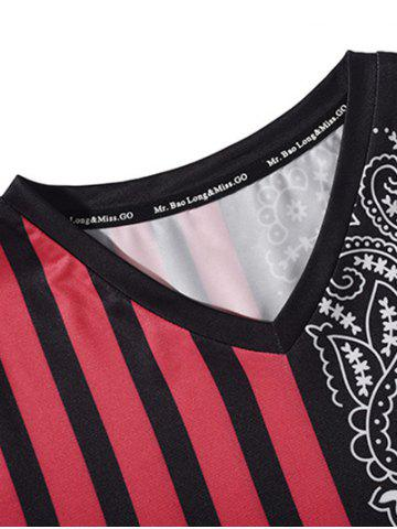 Latest V Neck Stripe Paisley Print Tee - M RED WITH BLACK Mobile