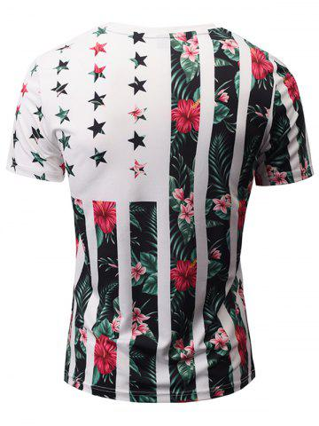 Latest V Neck Floral Printed Striped T Shirts - 3XL COLORMIX Mobile