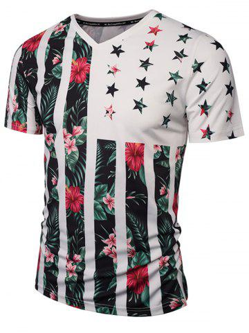 Latest V Neck Floral Printed Striped T Shirts - 2XL COLORMIX Mobile