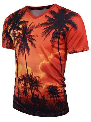 Unique Coconut Tree Print V Neck Hawaiian Tee - 2XL ORANGE Mobile