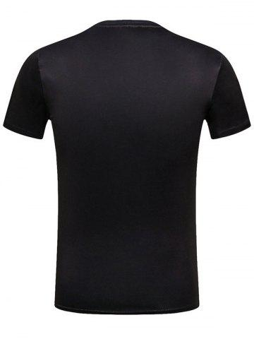 Chic God of Wealth Print Character T-Shirt - L BLACK Mobile