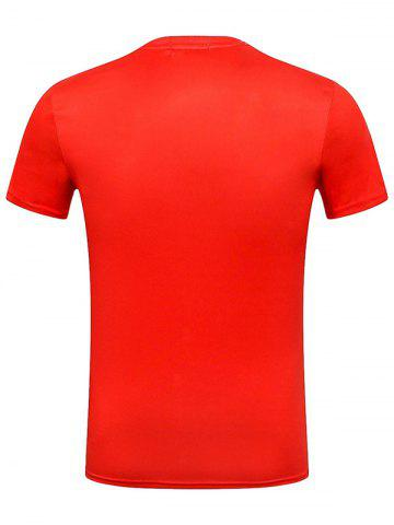 Trendy God of Wealth Print Character T-Shirt - M RED Mobile