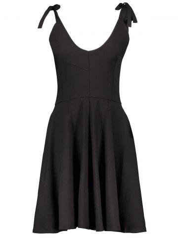 Cheap Vintage Knotted High Waisted A Line Dress