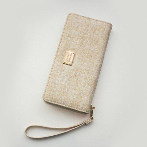 Affordable Zip Around Wristlet Wallet - BEIGE  Mobile