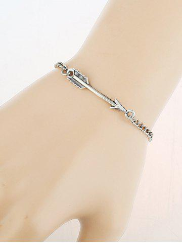 Vintage Love Arrow Chain Bracelet - Silver - One-size