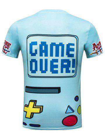 Sale Cartoon Game Over Graphic Tee - 2XL BLUE Mobile