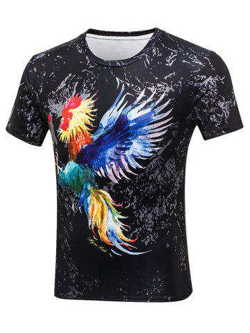 Shops Rooster Paint Print Crew Neck Tee - L BLACK Mobile