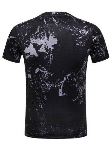 Sale Rooster Paint Print Crew Neck Tee - L BLACK Mobile