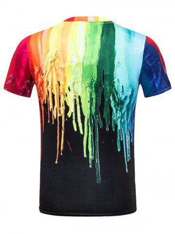 Fancy Paint Dripping Crew Neck Tee - 3XL COLORMIX Mobile