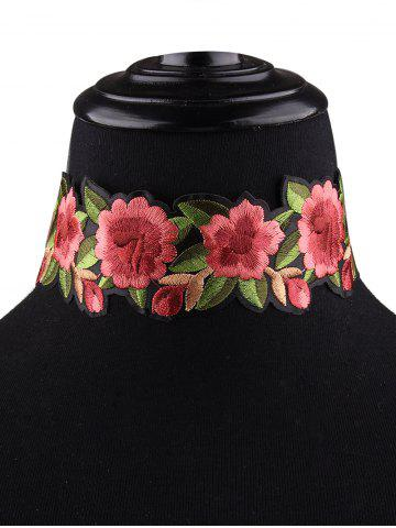 Shop Flower Embroidered Choker Necklace - RED  Mobile