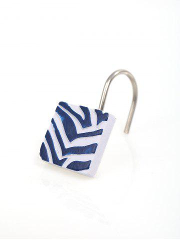 Discount 12Pcs/Set Resin Shower Curtain Hooks Rings - BLUE AND WHITE  Mobile