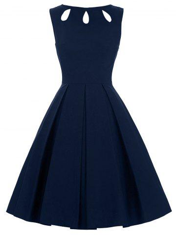 Cut Out Skater Dress - PURPLISH BLUE XL