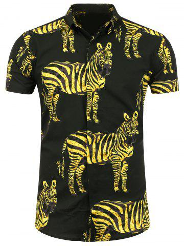 Hot Zebra Printed Short Sleeve Shirt - L YELLOW AND BLACK Mobile