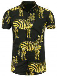 Zebra Printed Short Sleeve Shirt