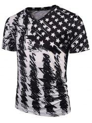 Star Scrawl Print V Neck Tee - WHITE AND BLACK