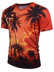 Coconut Tree Print V Neck Tee - ORANGE
