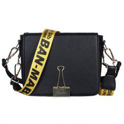 Printed Strap Flap Crossbody Bag - BLACK