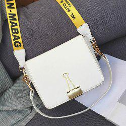 Printed Strap Flap Crossbody Bag - WHITE
