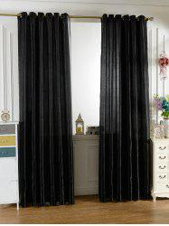 Home Decor Grommets Ring Top Window Curtain - Noir