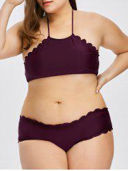 Scalloped Halter Cute Plus Size Bikini