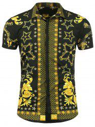 Turn Down Collar Short Sleeve Bandana Print Shirt