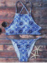 Strappy Printed High Neck Thong Bikini Swimsuit