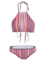Ripped Stripped Halter Neck Bikini Set