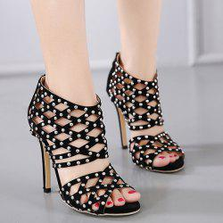 Zipper Studded Sandals - BLACK