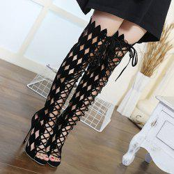 Cutout High Heel Gladiator Thigh High Sandals