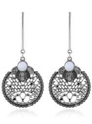 Vintage Rhinestone Circle Engraved Drop Earrings